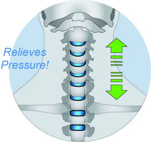 CerviPedic Neck-Relief™ opens the intervertebral spaces and relieves pressure