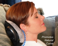 Relieve neck pain at home, traveling or anywhere you can recline or lay down.